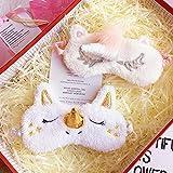 ITODA Schlafmaske Einhorn Augenmaske für Kinder Erwachsene Schlafhilfe Augenabdeckung Weiche Plüsch Nachtmaske für Mädchen Damen Lichtschutz Rosa Schlafbrille für Flug Zuhause Reise Camping Urlaub - 6