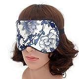 100% Seide Schlafmaske Augenmask Schlafbrille Reisen Nachtmaske Silk Eye Mask (Floral)