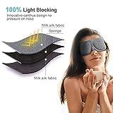 PaiTree Schlafmaske Damen und Herren, Premium Schlafbrille patentiertes Design Blackout Augenmaske, 3D konturierte komfortabler Augenschutz & Augenbinde, komplette Dunkelheit. - 4